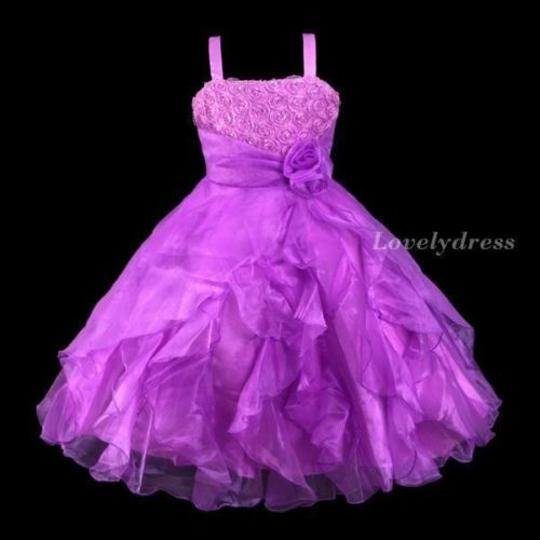 Purple Flower Girl Dress With Rhineshones And Ruffles