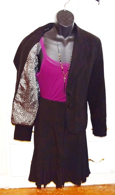 AGB Coat Sports Coat Top 16 Leopard Skin Fully Lined Long Sleeve black Jacket