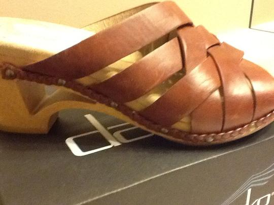 Dansko Leather Casual Braided Geometric Mahogany Wedges Image 10