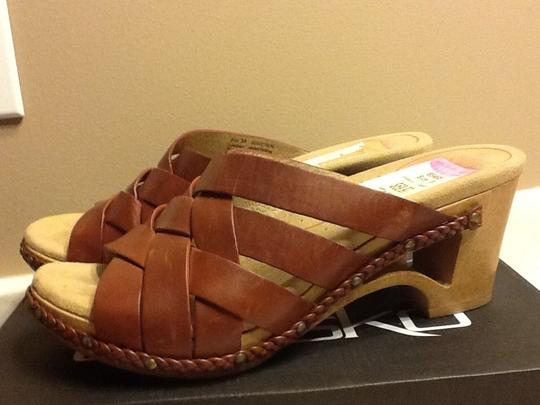 Dansko Leather Wooden Summer Spring Casual Sandal Braided Office Geometric Mahogany Wedges
