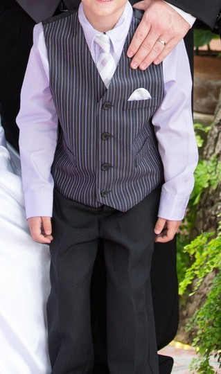 George Purple Grey and Black Ring Bearer Boys Size 6 Four Piece Outfit Tuxedo