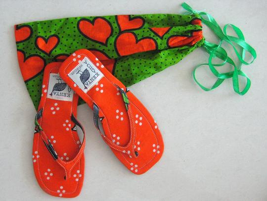 Private Collection Beach Flat Slim Size 7 Bright Colorful Kanga Printed Fabric Cotton From Kenya East Africa Rubber Soles Individually Hot Orange / Hot Green Sandals Image 1