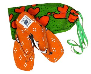 Private Collection Beach Flat Slim Size 7 Bright Colorful Kanga Printed Fabric 100 % Cotton From Kenya East Africa Rubber Soles Hand Made Hot Orange / Hot Green Sandals