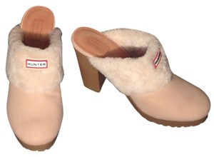 Hunter Bruson Shearling Cream Beige Mules