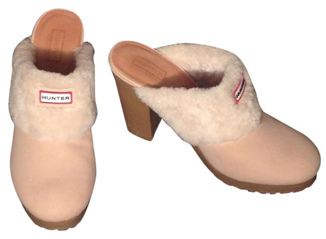 Item - Cream Beige Bruson Fur Trim Designer Shearling Heels Mules/Slides Size US 10 Regular (M, B)