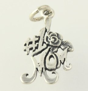 1 Mom Charm - Sterling Silver 925 Floral Pendant Family Gift Womens