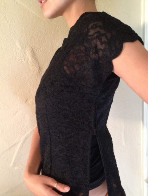 Vintage Lace Sheer Fifties Rare Neckline Sleeve Detail Top black