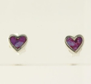 Purple Enamel Heart Stud Earrings - Sterling Silver Pierced Womens Fine Estate