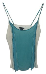 A|X Armani Exchange Blouse Teal Turquiose Braid Silk Comfortable Top teel, green, white, cream