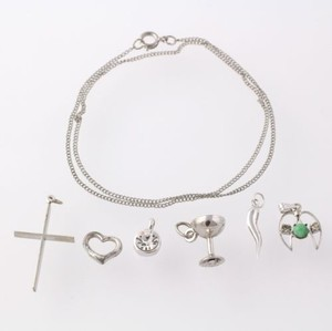 Necklace Charms Set Womens Heart Cross Angel Communion Cup Turquoise Religious