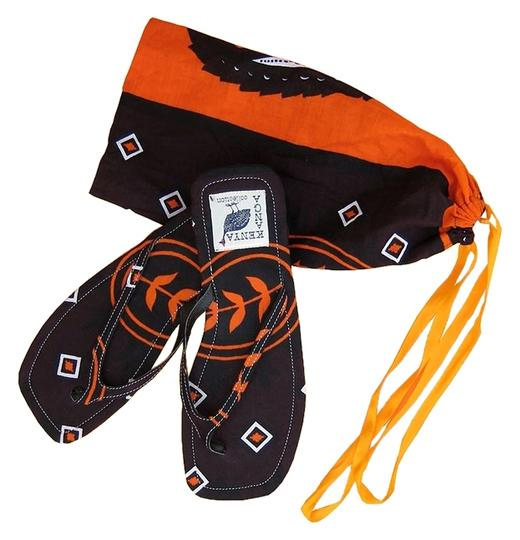 Private Collection Beach Flat Slim Size 9.50 Bright Colorful Kanga Printed Fabric Cotton From Kenya East Africa Rubber Soles Hand Made Black / Hot Orange Sandals