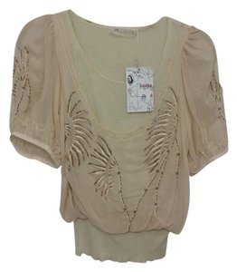 Lafer Ornate Silk Soft Handmade Top beige