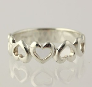 Heart Pattern Band - 925 Sterling Silver Ring Womens Fine Estate 14
