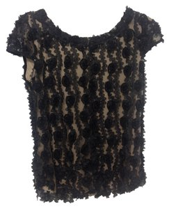 Ann Taylor Lack Black White Cap Sleeves Rose Fall Holiday Top black, tan
