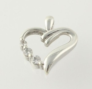 Heart Cz Pendant - 925 Sterling Silver Round Cut Womens Fashion Estate .15ctw