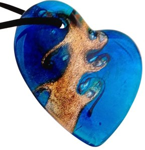 Handmade Blue Murano Glass Heart Pendant On A Rope
