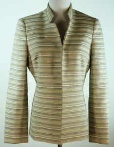 Kasper Kasper Open Front Striped Blazer Golden Khaki And Black