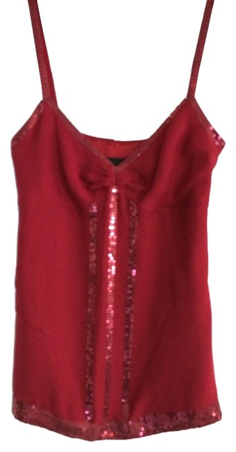 Express Silk Spaghetti Strap With Sequin Trim Top Red 30%OFF