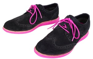 Cole Haan Black Lunargrand suede oxfords with pink trim and Nike soles Flats