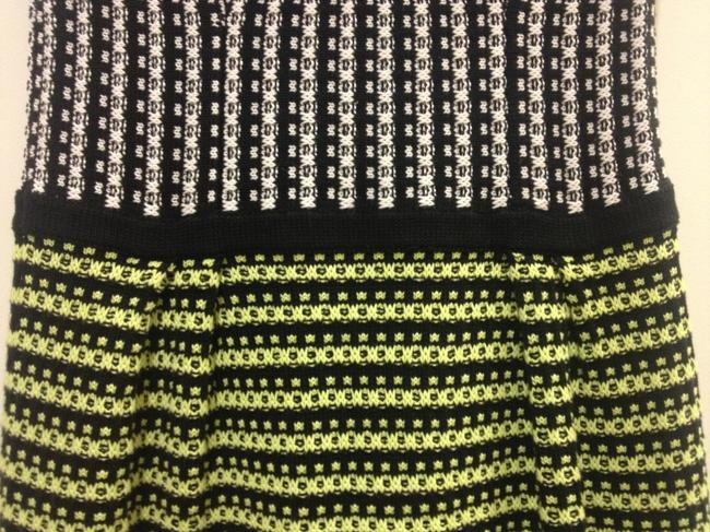 Nanette Lepore Mixed Knit Casual Formal Sweater Yellow Green Dress