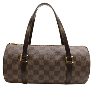 Louis Vuitton Lv Canvas Leather Duffle Satchel in brown and black