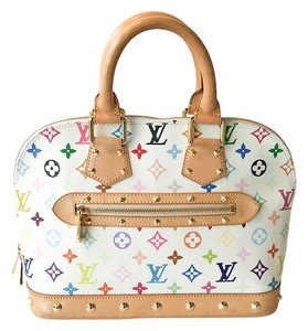 Louis Vuitton Alma Multicolor Monogram Canvas Tote in Multi-Color White