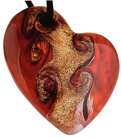 Handmade Murano Glass Heart Pendant Red On A Rope