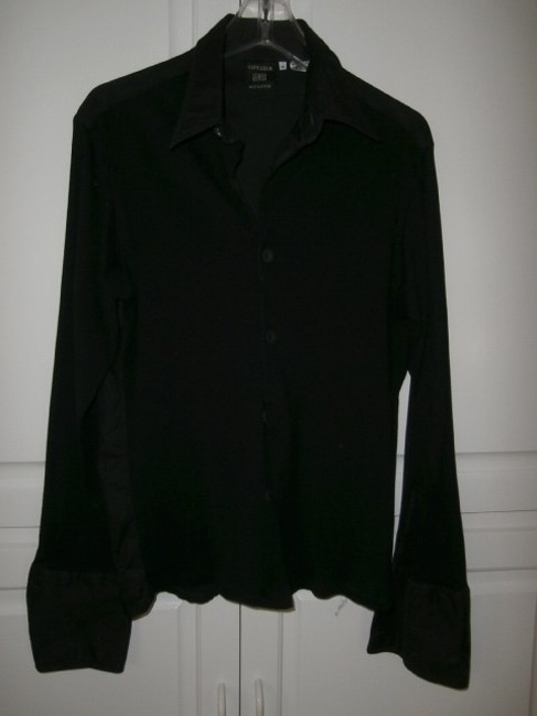 Preload https://item1.tradesy.com/images/jean-paul-gaultier-black-french-cuffed-shirt-button-down-top-size-8-m-13535-0-0.jpg?width=400&height=650