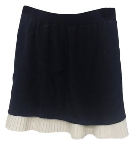 BCBGMAXAZRIA Elastic Waist Silk Skirt black and white