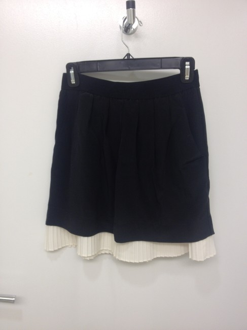 BCBGMAXAZRIA Elastic Waist Band Silk Skirt black and white