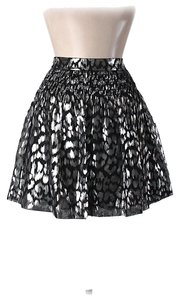 Trina Turk Nwt Metallic Mini Skirt Silver & Black