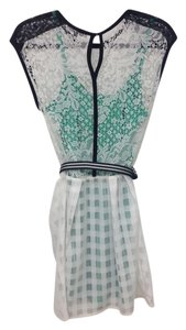 Nanette Lepore short dress white black green Silk Lace Emerald Belt on Tradesy