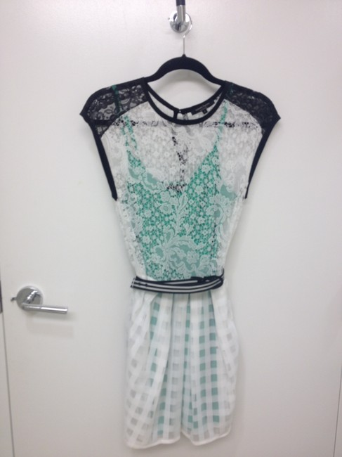 Nanette Lepore short dress white black green Silk Lace Emerald Belt Fit And Flare on Tradesy