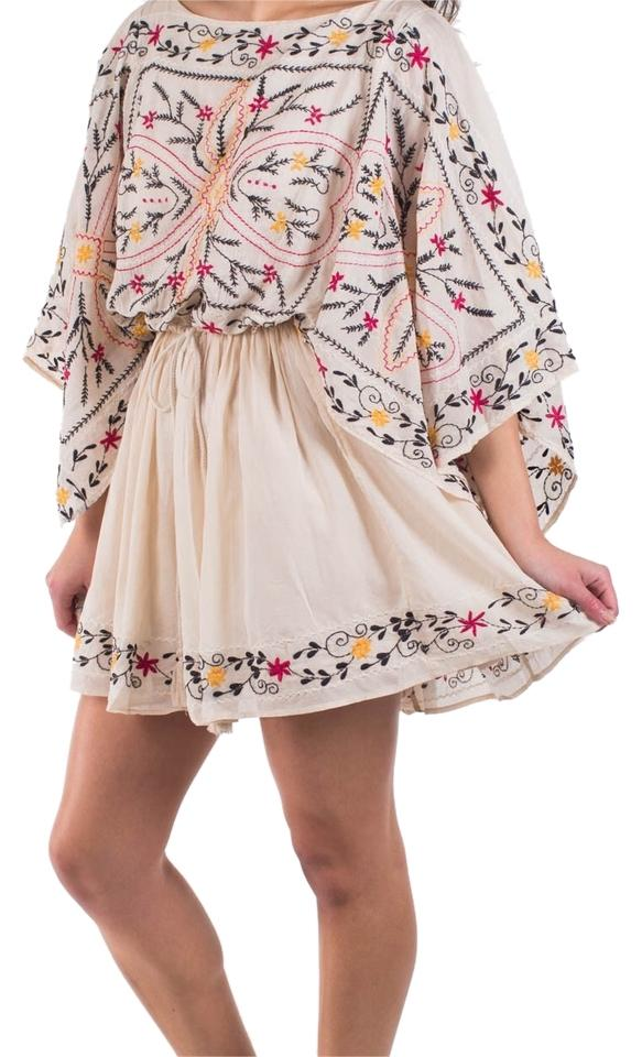 Well known Free People Ivory 'sheer Batiste' Embroidered Tunic Above Knee  OG43