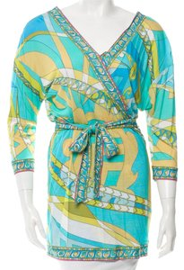 Emilio Pucci Monogram Longsleeve Belted Top Green, White, Multicolor