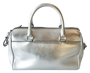 Saint Laurent Boston Duffle Calfskin Tote in Silver