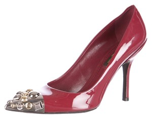 Louis Vuitton Patent Leather Pointed Toe Hardware Hardware Lv Monogram Red, Silver, Gold Pumps