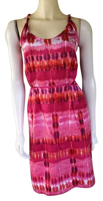 Preload https://item2.tradesy.com/images/banana-republic-pink-print-silk-twisted-shoulder-knee-length-night-out-dress-size-8-m-1353641-0-0.jpg?width=400&height=650