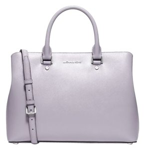 Michael Kors Leather Large Satchel in Lilac