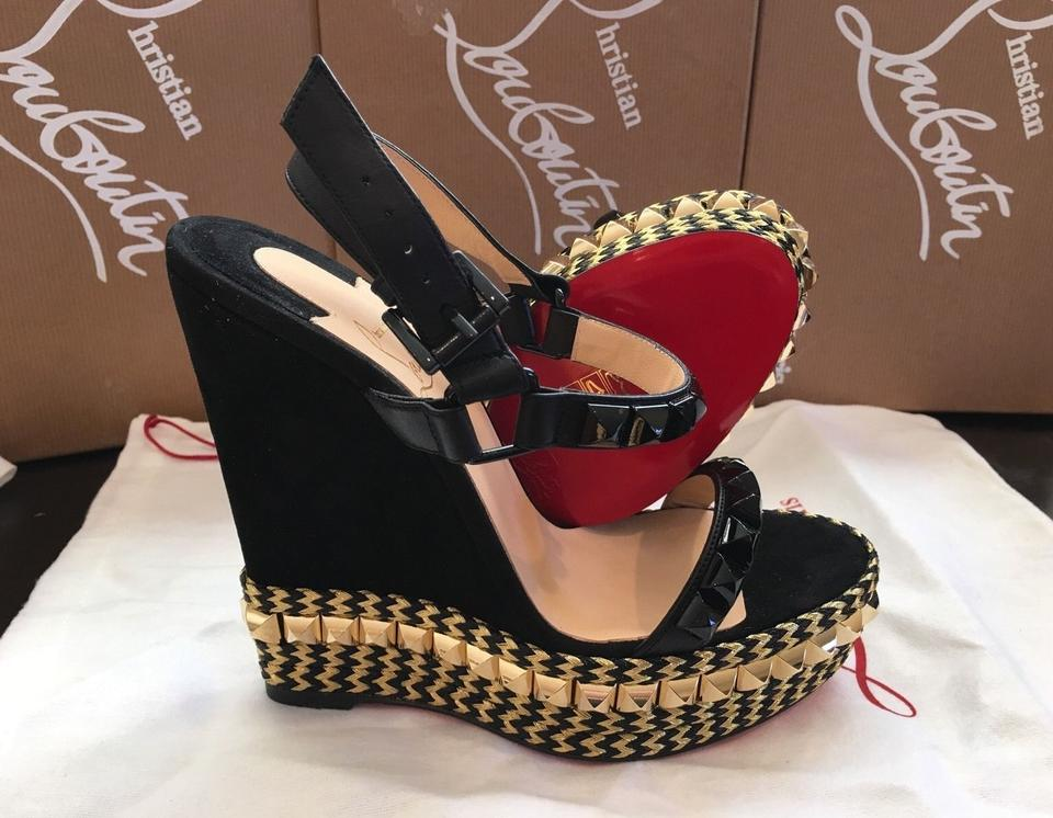 0cc821ba600 Christian Louboutin Leopard Black Cataclou Suede Leather Espadrilles 140mm  Black/Gold Platforms Sandals Wedges Size US 7 Regular (M, B) 13% off retail