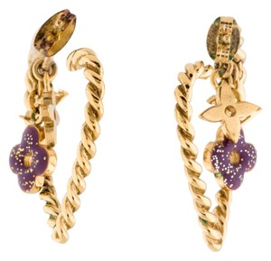 Louis Vuitton Gold-tone Louis Vuitton Sweet Monogram in My Heart twisted heart hoop earrings