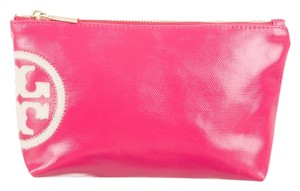 Tory Burch Reva Logo Gold Hardware Monogram Cosmetic Wristlet in Pink, White