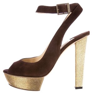 Jimmy Choo Iona Gold Suede Brown Pumps
