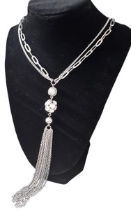 Long Silver Tassle and CZ necklace.75% off