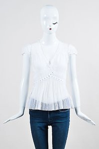 Blumarine Cream Lace Ruffle Top White