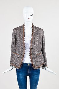 Escada Red Brown Black Cotton Multi-Color Jacket
