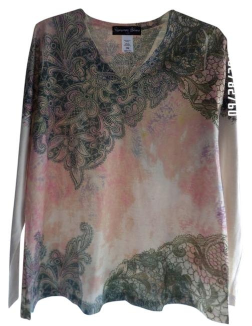 Appropriate Behavior Top Multi-Colored Beige, Pink w/Black Design