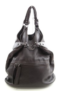 Givenchy Dark Leather Hobo Braided Zipper Pocket Satchel in Brown