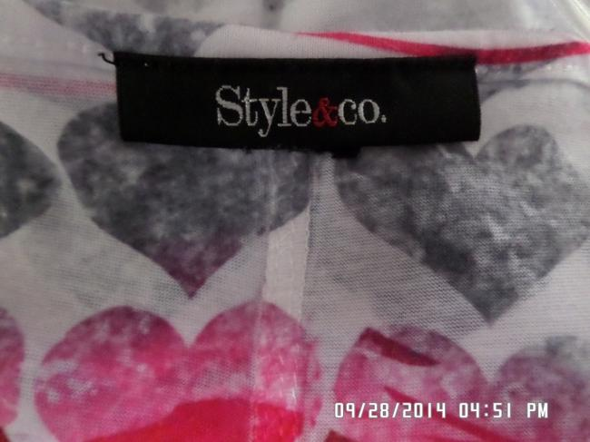 STYLE & CO Top MULTI-COLORED EMBELLISHED HEARTS SHIRT