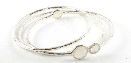 Ippolita Ippolita Sterling Silver Mother of Pearl Diamond Bangle Bracelet Trio Set .925